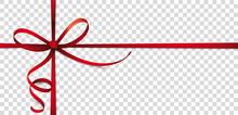 Rotes Geschenkband Mit Schleifen Auf Transparentem Hintergrund
