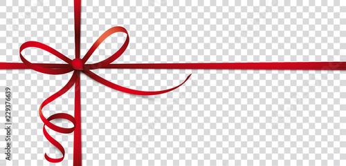Photo Rotes Geschenkband mit Schleifen auf transparentem Hintergrund