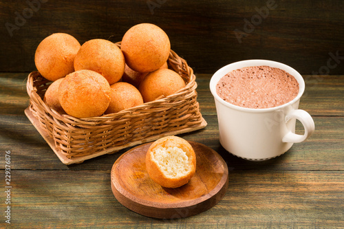 Buñuelos Colombian traditional food - Hot chocolate drink