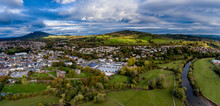 Aerial View Of The Welsh Town Abergavenny Near Brecon Beacons Wales