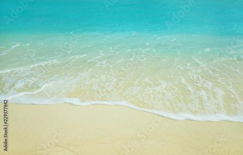 Poster Mer / Ocean Sea wave on the sunny sandy beach.