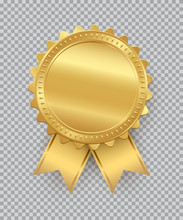 Golden Seal With Ribbons Isolated On Transparent Background. Vector Design Element.