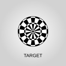 Target Icon. Target Symbol. Flat Design. Stock - Vector Illustration