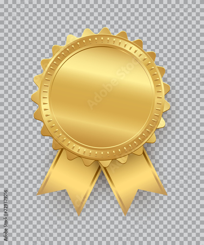 Photo  Golden seal with ribbons isolated on transparent background