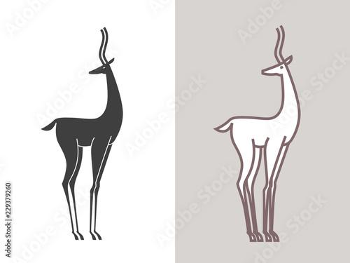 Obraz na plátně Silhouette of the gazelle isolated on white
