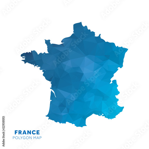 Map of France. Blue geometric polygon map. Wall mural