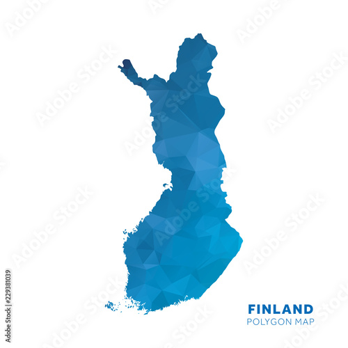 Photo Map of Finland. Blue geometric polygon map.