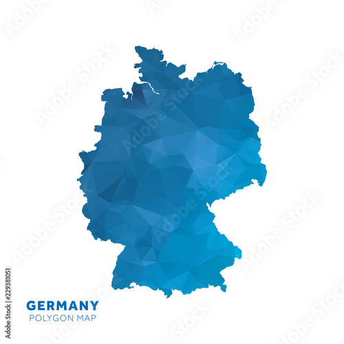 Photo Map of Germany. Blue geometric polygon map.