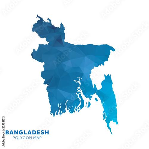 Map of Bangladesh  Blue geometric polygon map  - Buy this