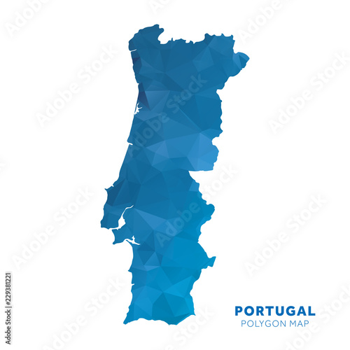 Map of Portugal. Blue geometric polygon map. Canvas Print