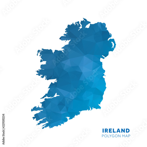 Map of Ireland. Blue geometric polygon map. Wallpaper Mural