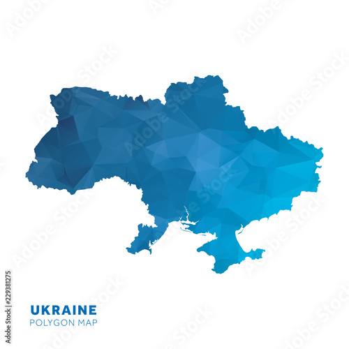 Photo Map of Ukraine. Blue geometric polygon map.