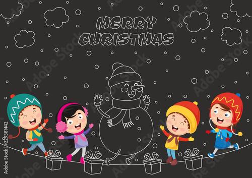 Printed kitchen splashbacks Illustrations Vector Illustration Of Christmas