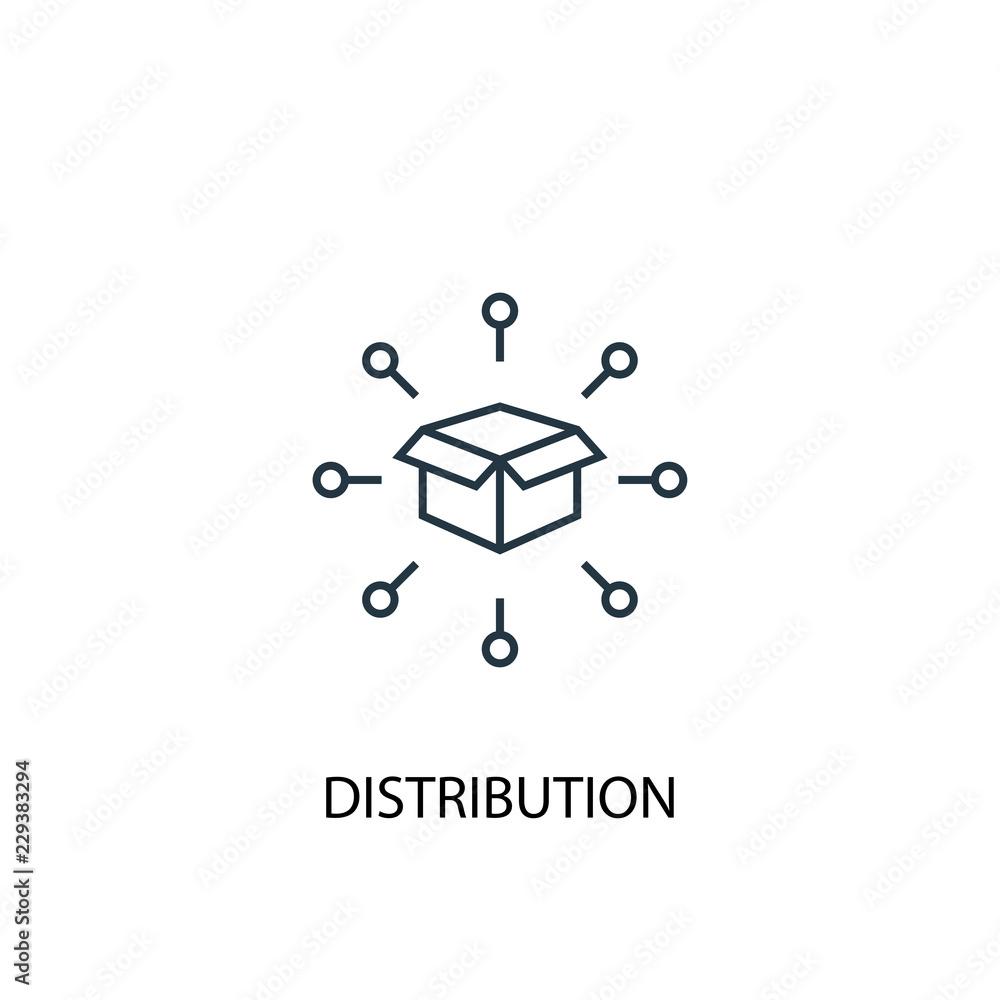 Fototapeta distribution concept line icon. Simple element illustration. distribution  concept outline symbol design. Can be used for web and mobile UI/UX