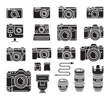 Camera Black Icons Set. Vector Illustration.