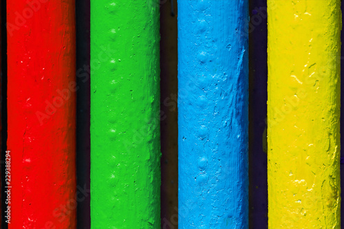 Fotografiet  Pipes painted in colors of famous software manufacturer logo