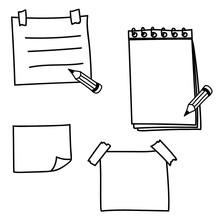 Set Hand Drawn Doodle Notepape...
