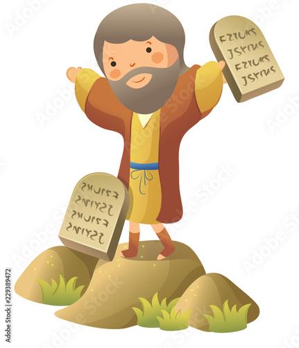 Fotografie, Obraz Moses standing and holding ten commandments