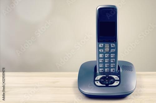 Obraz Cordless modern Phone and base station isolated on white - fototapety do salonu