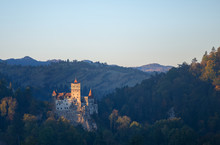 Bran Or Dracula Castle In Transylvania, Romania. The Castle Is Located On Top Of A Mountain,
