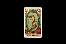 An Individual Major Arcana Tarot Card Isolated On Black Background. The World.