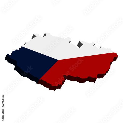 Photo  3D Vector. Map of Czech Republic