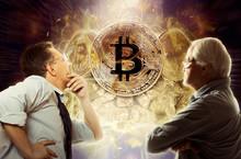 Businessman Look On Bitcoin Coin