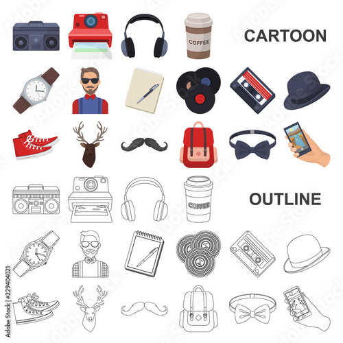 Photo Style Hipster cartoon icons in set collection for design