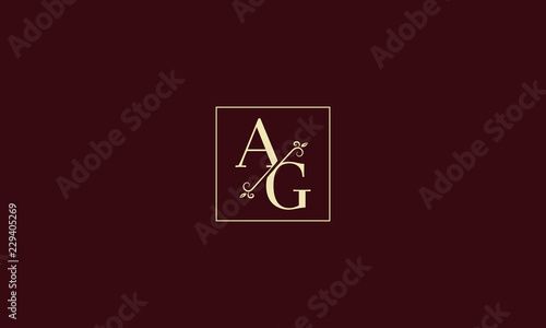 LETTER A AND G MONOGRAM LOGO WITH SQUARE FRAME FOR LOGO DESIGN OR ILLUSTRATION U Canvas Print