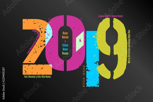 Valokuva  Sfondo grafico per il nuovo anno in arrivo - 2019