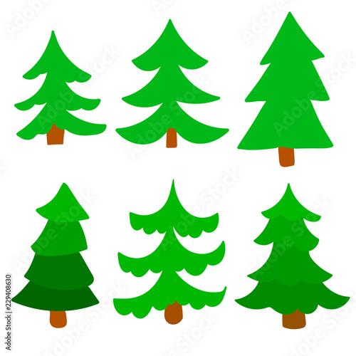 Fotografía  Cartoon green spruce set isolated on white background