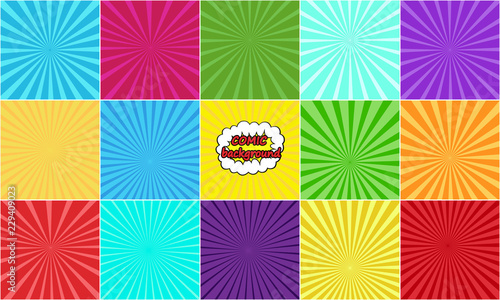 set of comic backgrounds with rays - Buy this stock vector