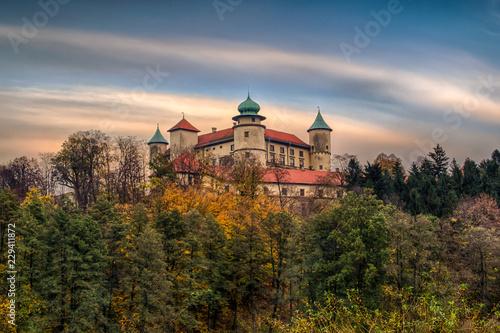obraz PCV Zamek w Wiśniczu – zamek położony na zalesionym wzgórzu nad rzeką we wsi Stary Wiśnicz, Polska