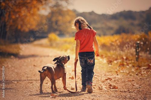 obraz PCV child with a dog