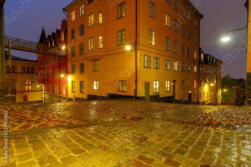 Photo  Stockholm. Old street at night.