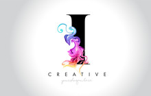 I Vibrant Creative Leter Logo Design With Colorful Smoke Ink Flowing Vector.