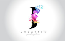 J Vibrant Creative Leter Logo Design With Colorful Smoke Ink Flowing Vector.