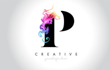 P Vibrant Creative Leter Logo Design With Colorful Smoke Ink Flowing Vector.