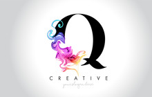 Q Vibrant Creative Leter Logo Design With Colorful Smoke Ink Flowing Vector.