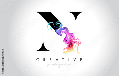 N Vibrant Creative Leter Logo Design with Colorful Smoke Ink Flowing Vector Fototapete