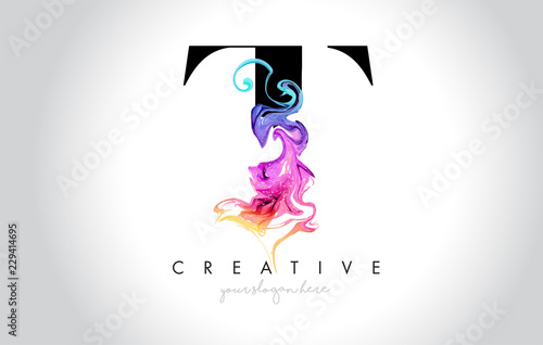 Valokuva  T Vibrant Creative Leter Logo Design with Colorful Smoke Ink Flowing Vector