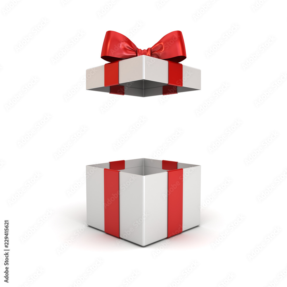 Fototapeta Open gift box or present box with red ribbon bow isolated on white background with shadow 3D rendering