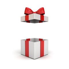 Open gift box or present box with red ribbon bow isolated on white background with shadow 3D rendering