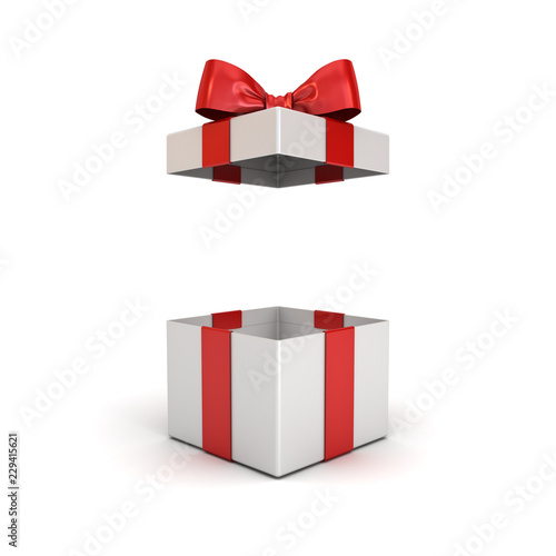 Photo Open gift box or present box with red ribbon bow isolated on white background wi
