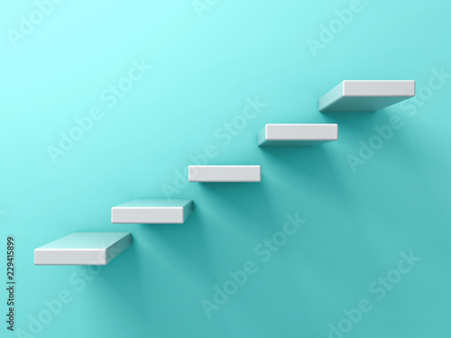 fototapeta na ścianę Abstract white stairs or five steps business concept on blue green pastel color wall background with shadow 3D rendering