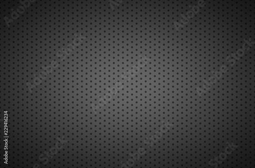 Valokuvatapetti Structured dark metallic perforated background, technology vector illustration