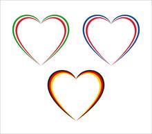 Set Of Three Hearts In Italian...