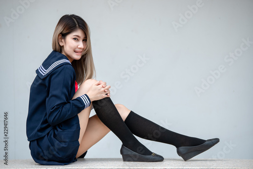Portrait Of Asian Woman Wear Student Dress Japan Style Thailand People Cute Girl Pose For Take A Picture Lifestyle Of Modern Woman Buy This Stock Photo And Explore Similar Images At Adobe Stock