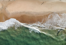 Aerial Drone View Of A Beach, People Walking