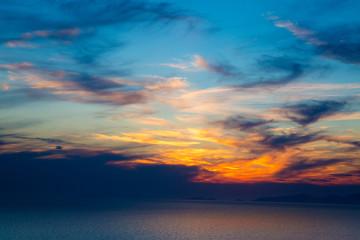 Fiery orange sunset sky. Bali, Indonesia Fiery orange sunset sky. Bali, Indonesia
